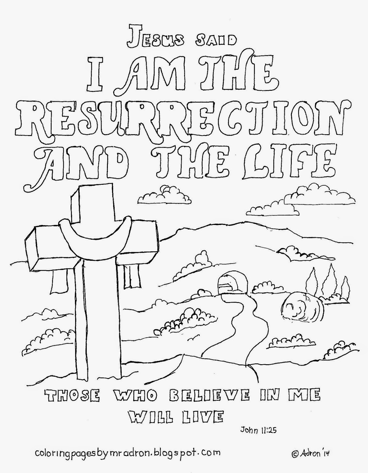 I AM the Resurrection and Life Coloring Page high resolution