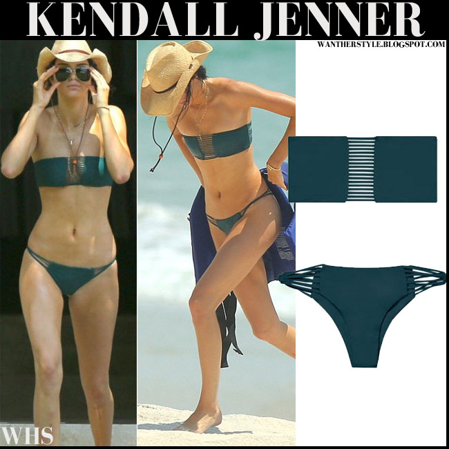 Kendall Jenner in emerald green Mikoh bikini on the beach mexico 2015