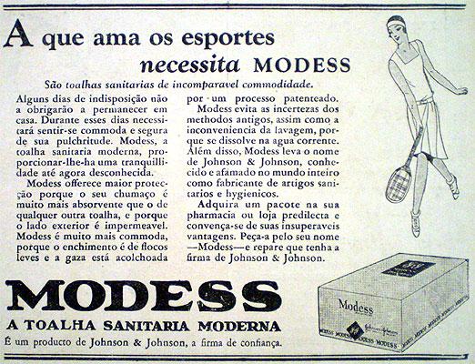 Propaganda antiga de absorvente (Modess) dos anos 30.