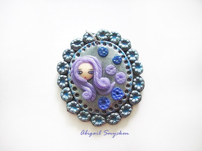 pendant, girl, blue, fimo, polymer clay