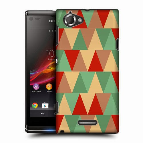 HEAD CASE PEPPER AND MINT TRIANGLE HARD BACK CASE COVER FOR SONY XPERIA L C2105