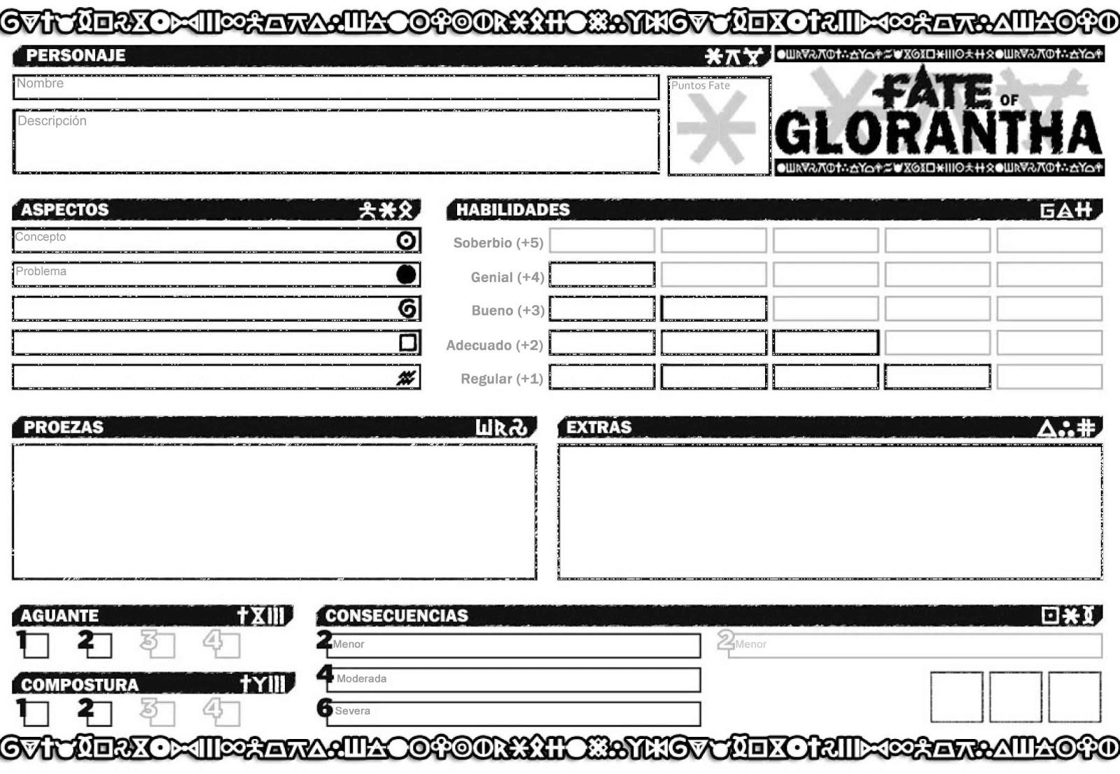 Fate of Glorantha: Hoja de Personaje para Fate of Glorantha