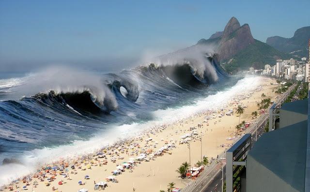 Tsunami imagem, maremoto, onda gigante na praia carioca
