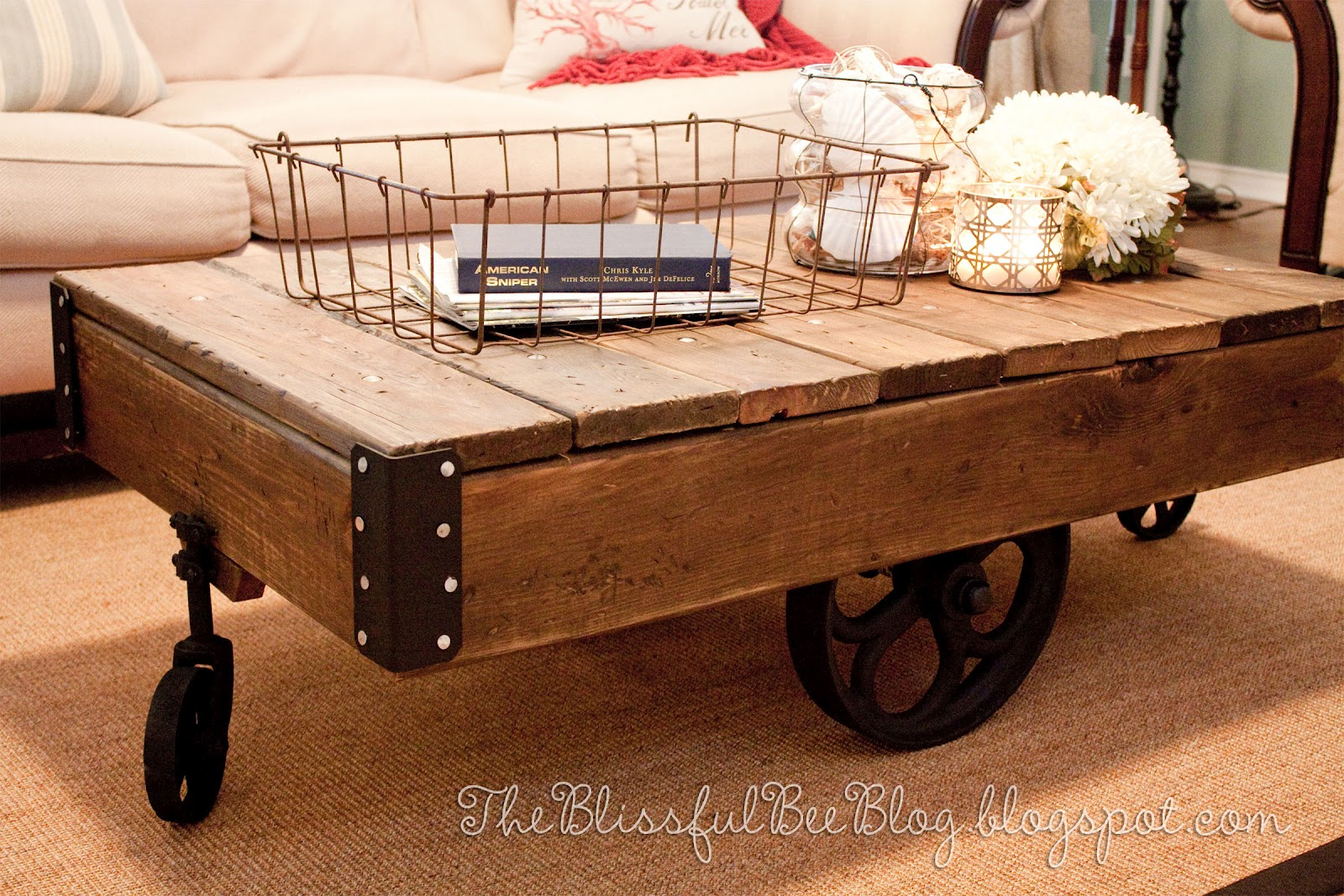 Factory cart table diy restoration hardware inspired the blissful bee Restoration coffee tables