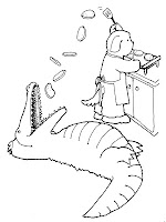 Alligator Eating The Cakes Coloring Pages