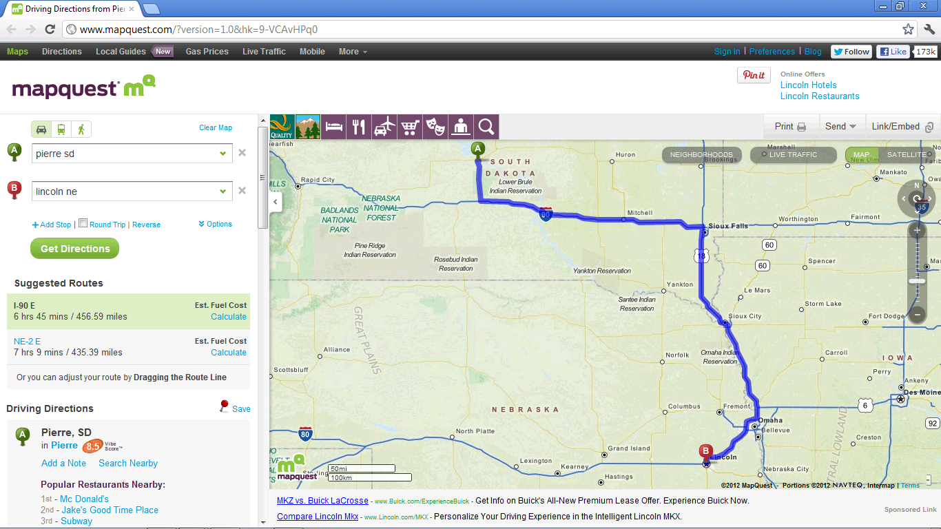 Mapquest directions from one place to another this occurs when one