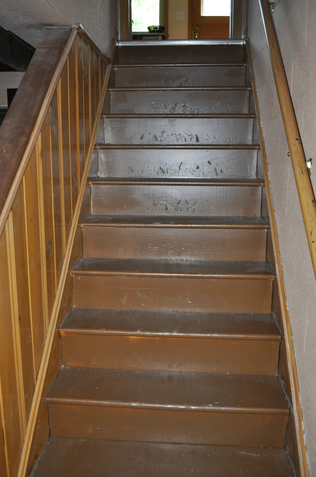 stairs, painting, basement, basement stairs, treads, risers, runner, lighting, paint, before, after
