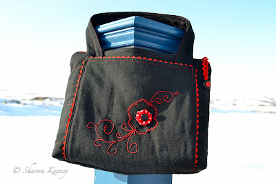 flowers, stitching, bag