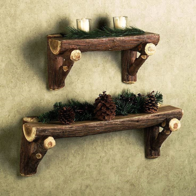 Rustic Timber Log Wall Shelf