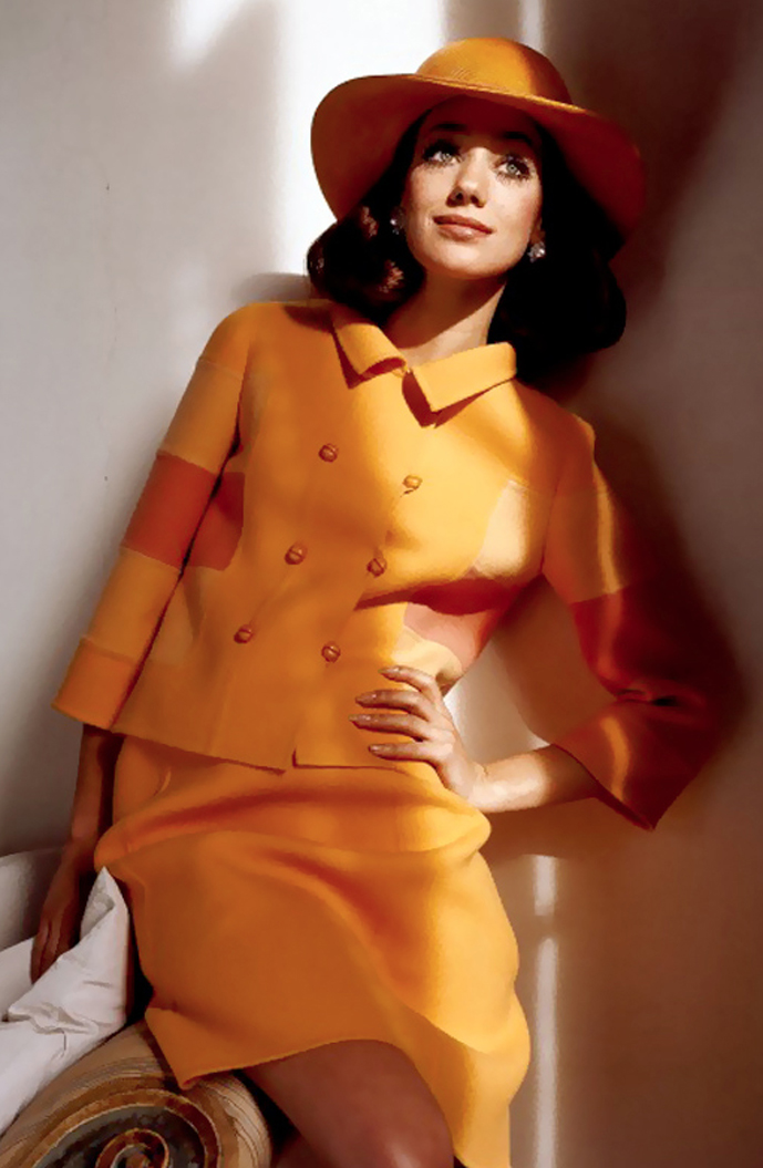 Marisa Berenson wearing Mila Schon suit photographed by Henry Clarke for Vogue US 1968