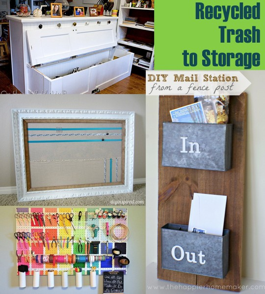 20 plus recycled storage solutions the country chic cottage for Recycling organization ideas