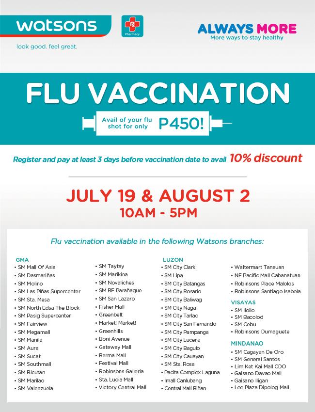 Watsons P450 Flu Vaccination