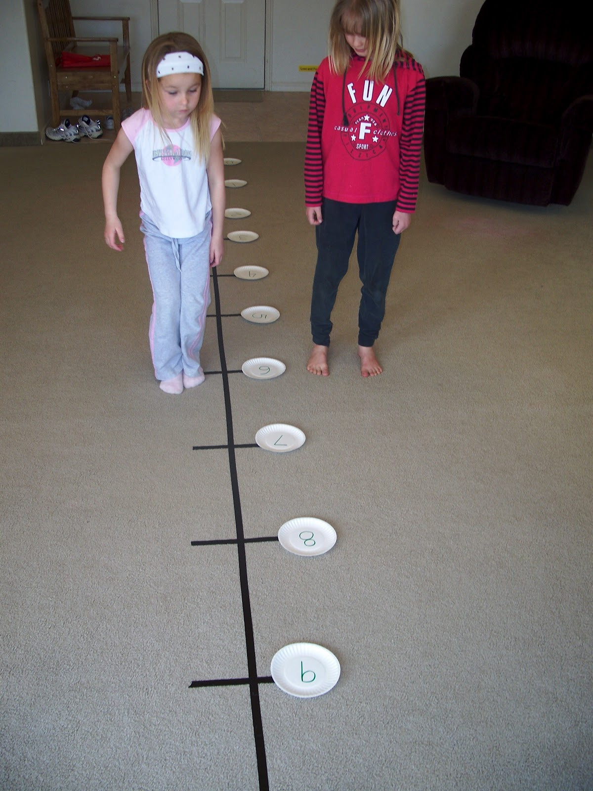 Our fun homeschool number line jumping for Floor number line