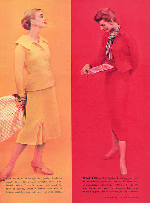 1950s fashion in yellow and red