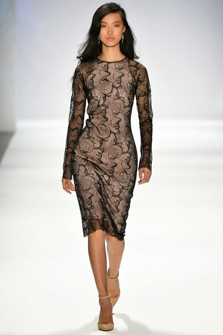 Modest black lace midi dress with long sleeves by Tadashi Shoji Mode-sty