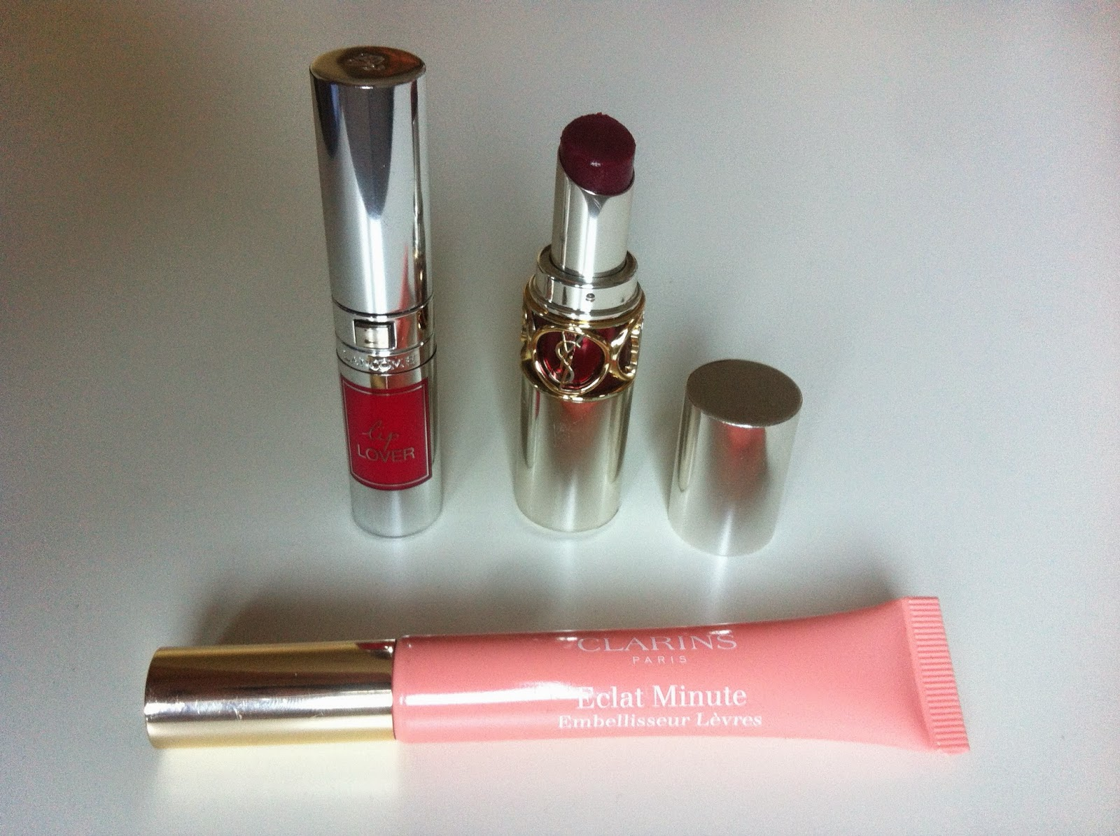 tag the lip product addict, lancome lip lover 355, ysl volupté sheer candy 5, clarins eclat minute embelliseur lèvres 02