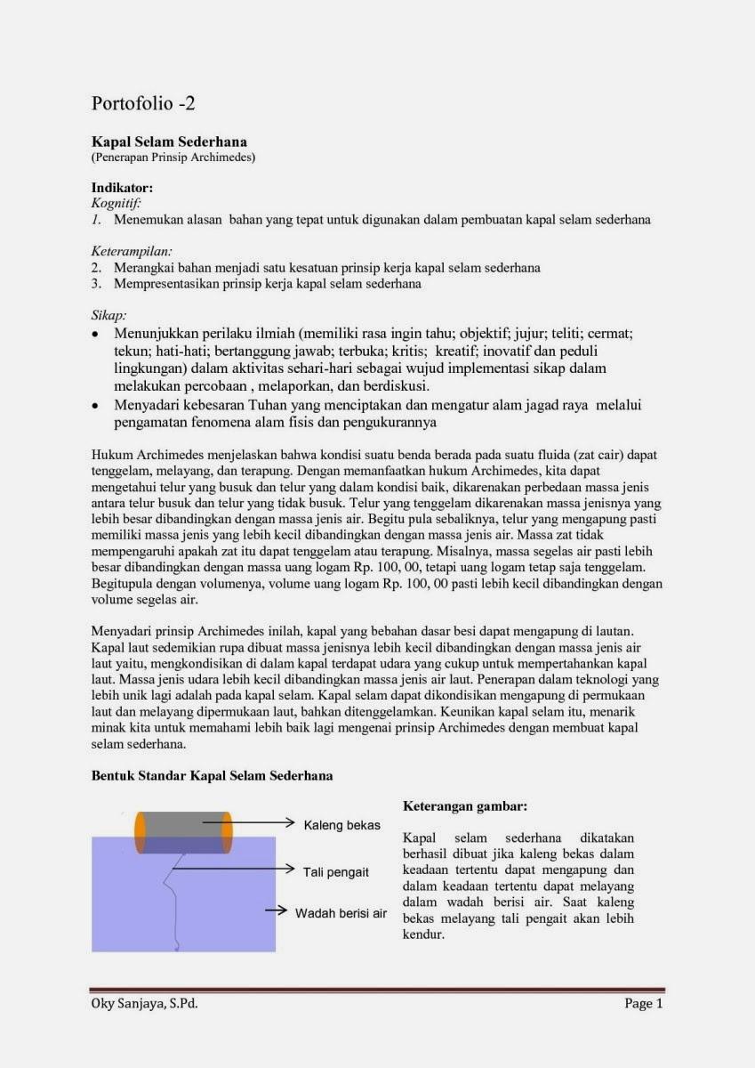 Fisika Siswa Tugas Portofolio Fisika Penerapan Hukum Archimedes