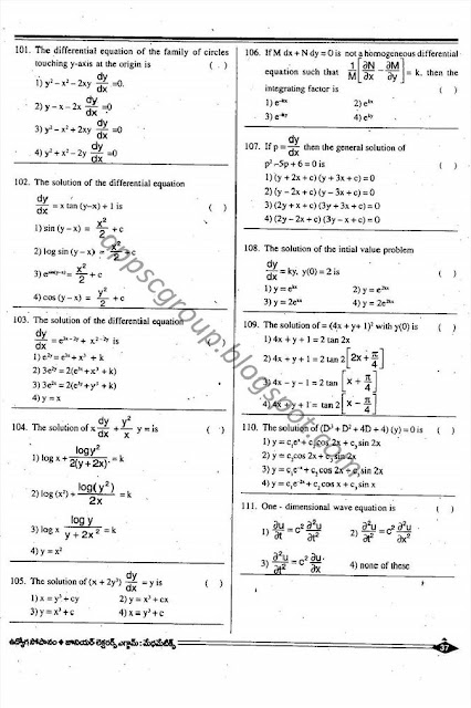 APPSC Junior Lecturers Previous Papers mathematics
