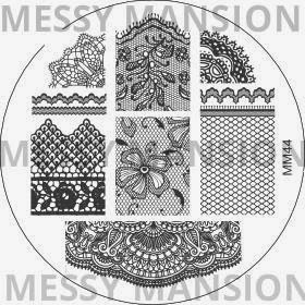 Lacquer Lockdown - Messy Mansion, stamping, new stamping plates 2014, new image plates 2014, new nail art plates 2014, pueen 2014, diy nails, nail art, cute nail art, easy nail art, indie plates, , MM44, lace nails, lace print nails, lace nail art