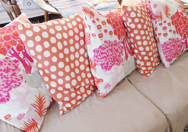 DIY, couch, makeover, home, decor, interior design, textiles, style, pillows, pink, orange