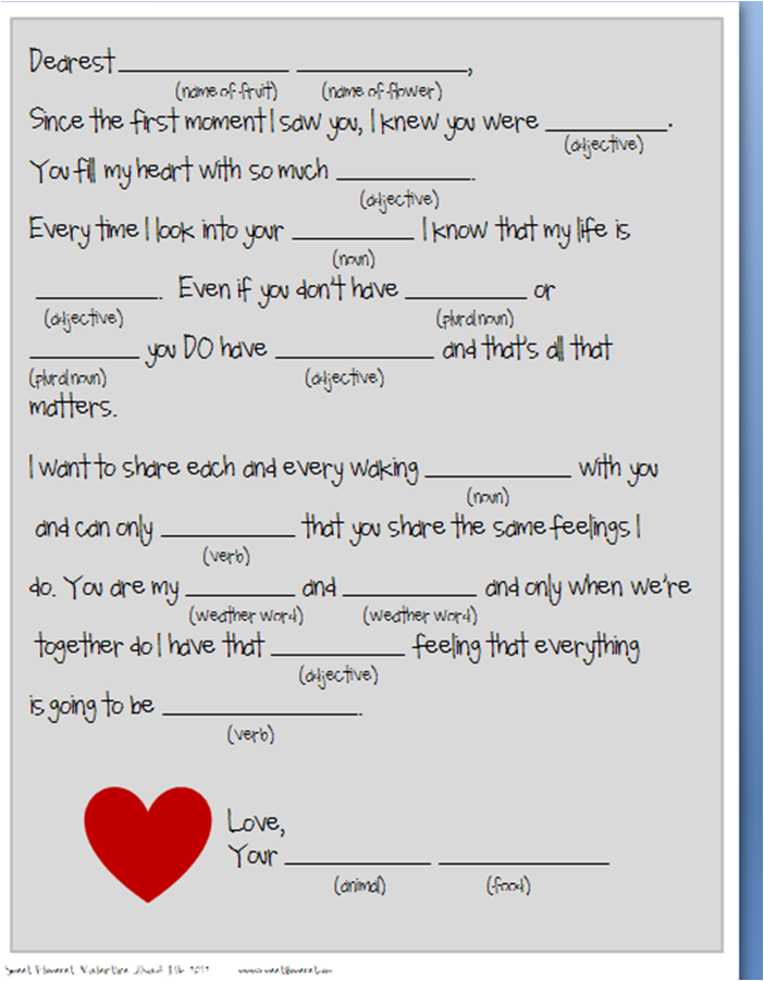 Mad Lib Template | Sweet Floweret Free Valentine Mad Lib Printable