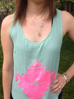 mint and pink aztec print top, skinny jeans, with white sandals!