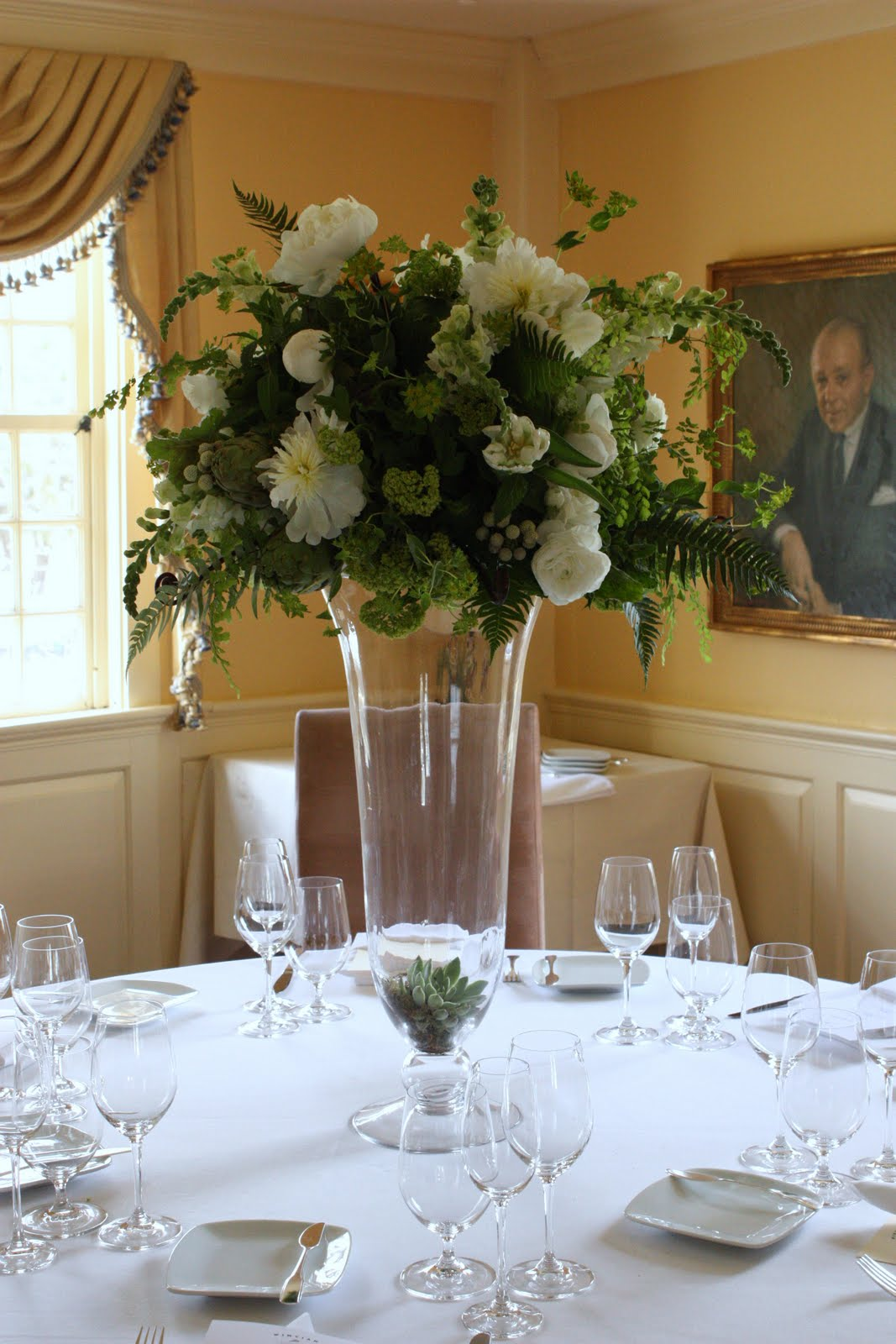 Green and white centerpieces blush floral design