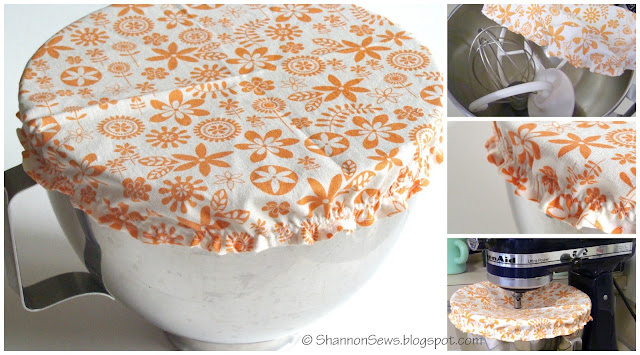 Easy bowl cover tutorial for Kitchen Aid bowls, pot luck dishes or left-overs