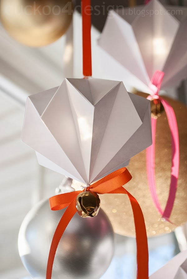 origami paper diamond jingle bell ornaments by cuckoo4design