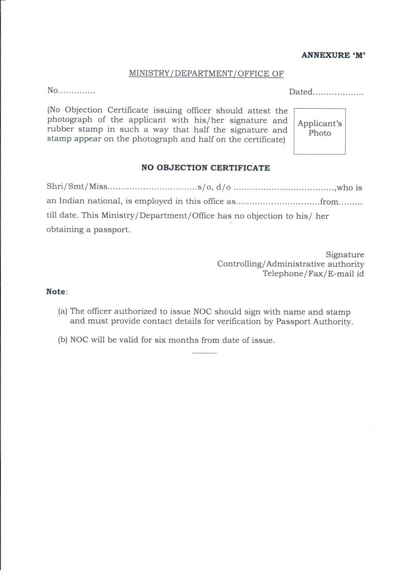 Doc7281032 No Objection Certificate for Passport Doc7681087 – Sample No Objection Letter