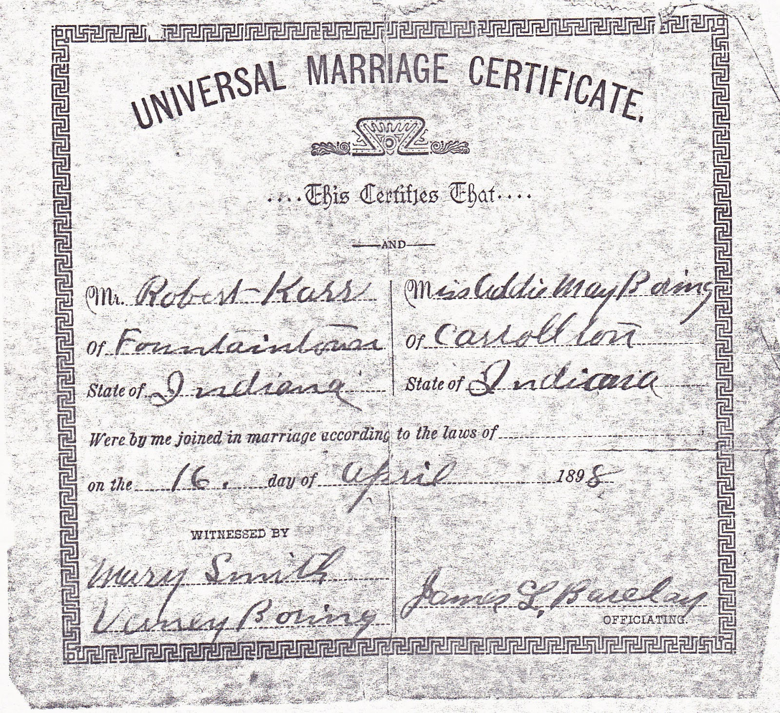 Marriage Records: Millie's Family History