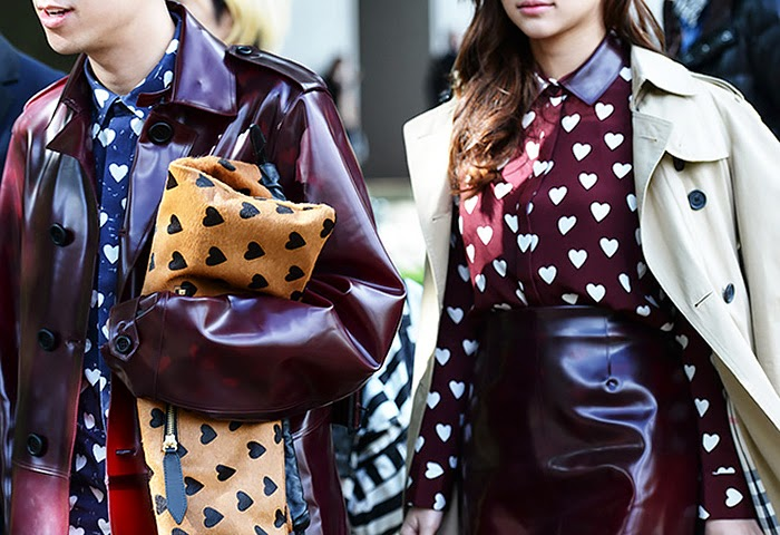 street style fashion week spring 2014, burberry hear shirt, heart clutch