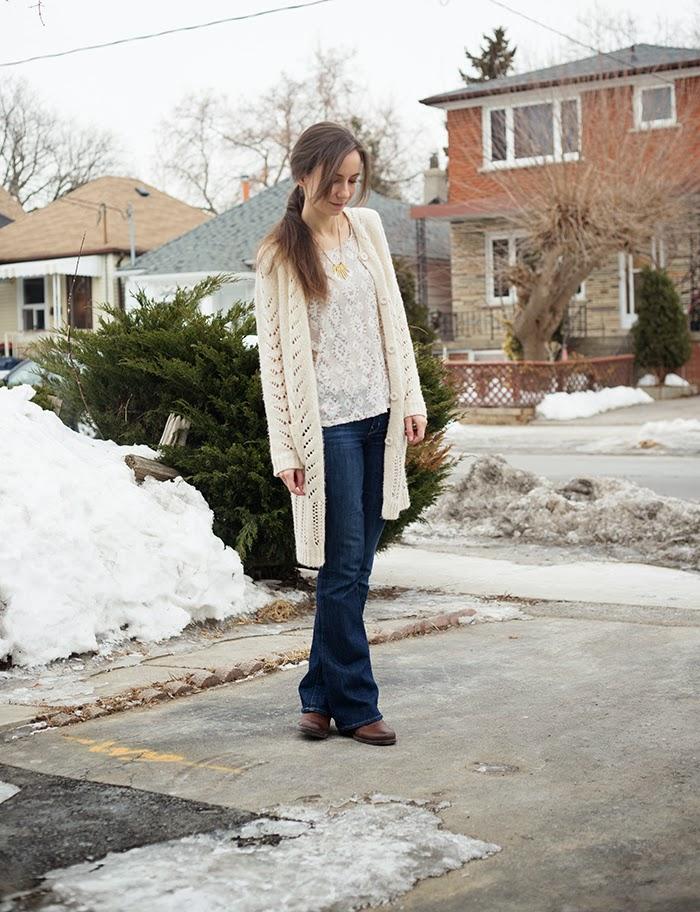 cream-cardigan-flare-jeans-