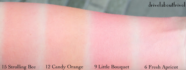 blush swatch jill stuart mix blush compact 15 strolling bee 12 candy orange 9 little bouquet 6 fresh apricot