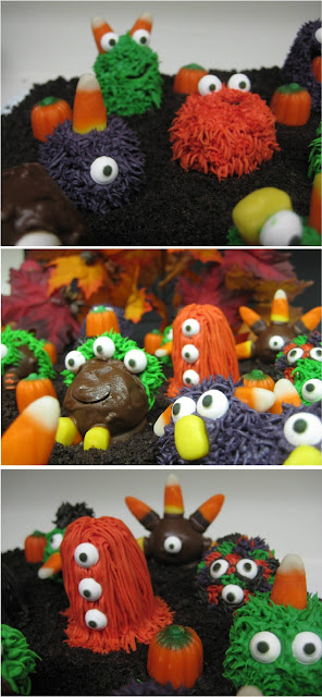 Halloween Little Monster Cake Balls - Close-Up View Collage