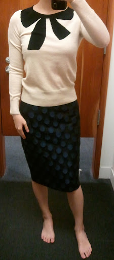 J.Crew Giant Bow Sweater in Mist Black and No. 2 Pencil Skirt in Dot Brocade
