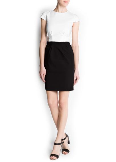 blok renk kontrast kısa elbise