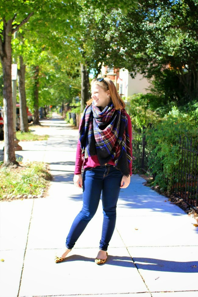 Bringing the Blanket Scarf Back | Something Good, blanket scarf, plaid scarf, over-sized scarf, zara scarf, leopard flats, aeo jeggings