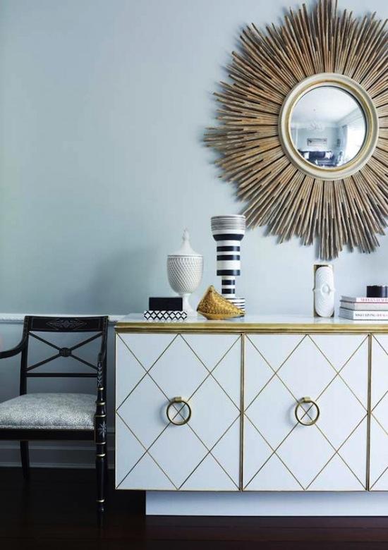 mid-century modern credenza with starburst mirror vignette