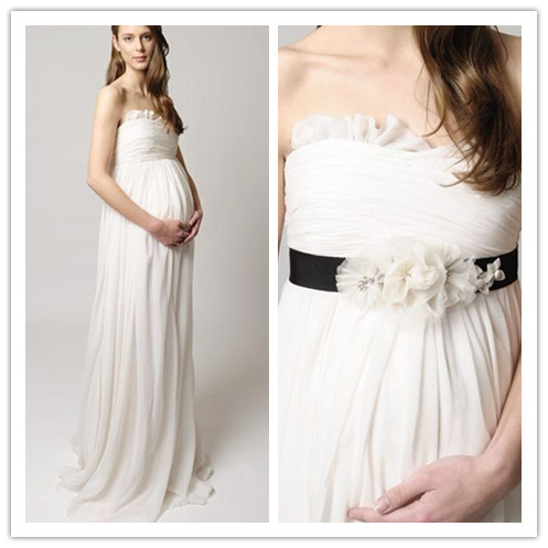Chiffon Strapless Empire A-Line Long Maternity Wedding Dress