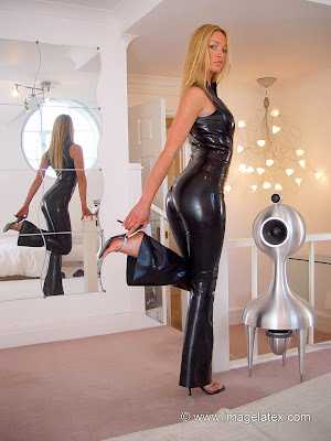 Sexy Blonde Lauren in Skin Tight Latex Catsuit