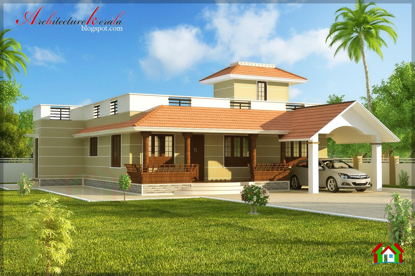 Architecture kerala single storied house elevation for Kerala style home designs and elevations