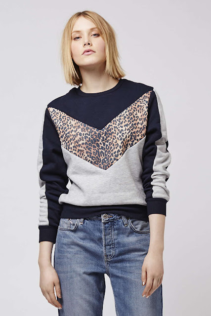 leopard colour block jumper,