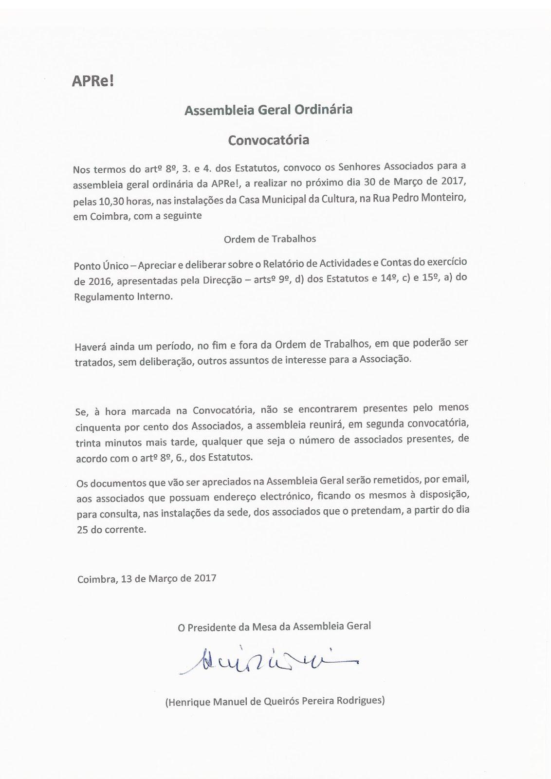 Convocatória para Assembleia Geral Ordinária da APRe!, 30 de Março 2017