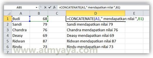 Gambar: Contoh penggunaan fungsi CONCATENATE() di microsoft excel