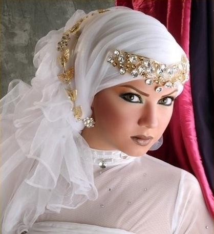 احدث لفات طرح زفاف العروسة المحجبة, لفة طرحة للعرايس المحجبات 2015