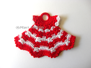 Crochet Pot Holder Little Dress Red