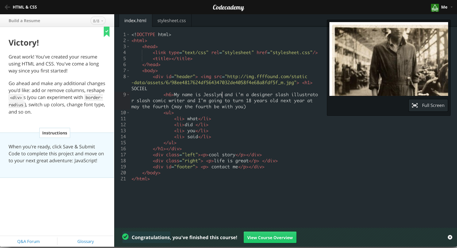 code academy html css build a resume - Resume Using Html And Css
