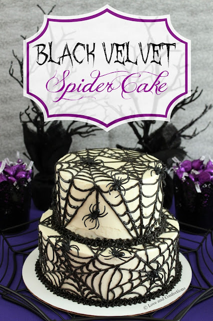 Black Velvet Spider Cake from LoveandConfections.com #SundaySupper