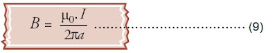 induksi magnetik di sekitar kawat penghantar lurus berarus yang berjarak a dari kawat berarus listrik I